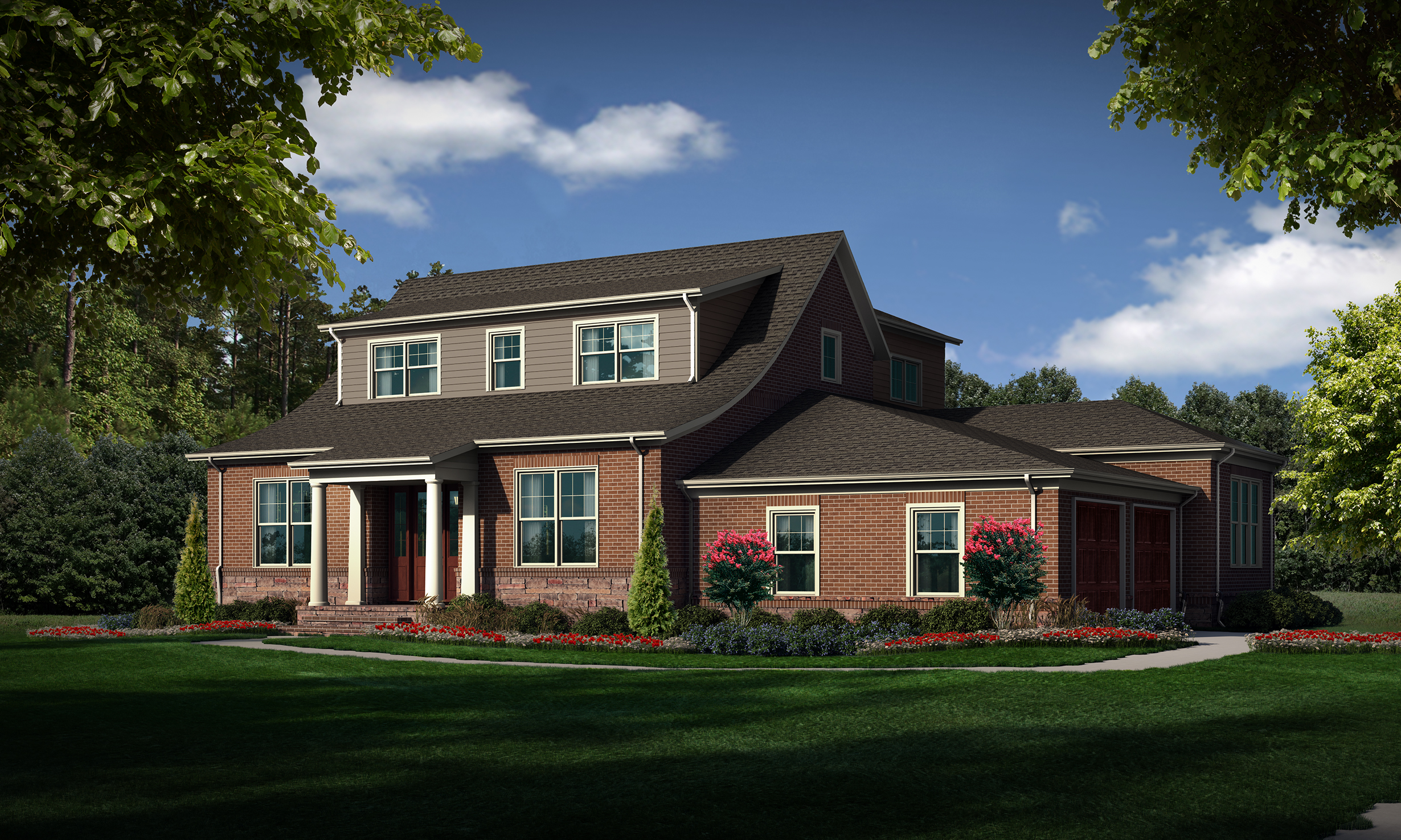 """Option C (Brick)  Total SF 4881 sq. ft. Total SF heated 3771 sq. ft. Bedrooms 4 Bathrooms 4.5 Width: 66'-6"""" Depth: 71'-6"""" Attached two-car garage Bonus room Rear covered porch Front covered porch"""
