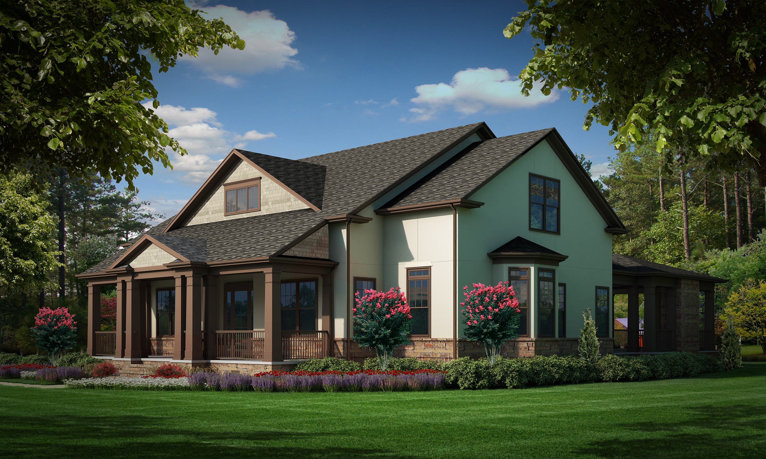 """Option A (Stucco)  Total SF 6042 sq. ft. Total SF heated 4093 sq. ft. Bedrooms 4 Bathrooms 4.5 Width: 77'-9"""" Depth: 77'-0"""" Attached three-car garage Bonus room Front covered porch Rear covered porch"""