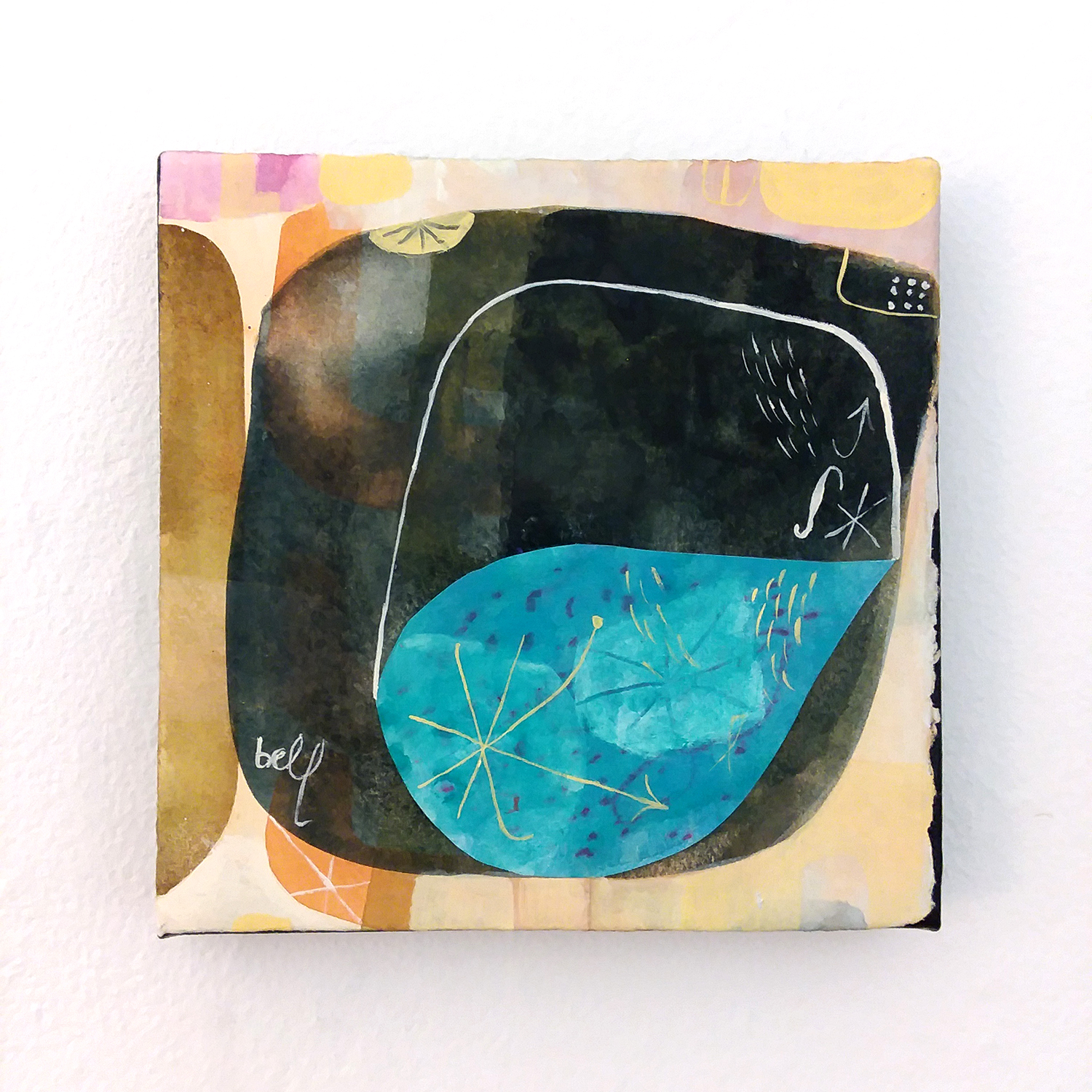 Aerodynamic Fishbowl Doubles as Public Aquarium, Westown   watercolor, gouache, and collage on paper mounted on canvas