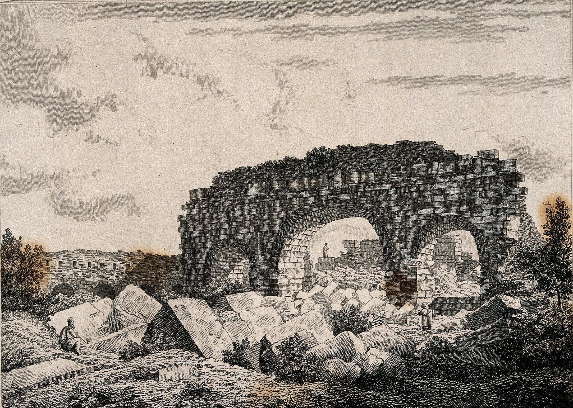 Splendid remains of public baths at Alexandria  | Letita Byrne (1812) Etching