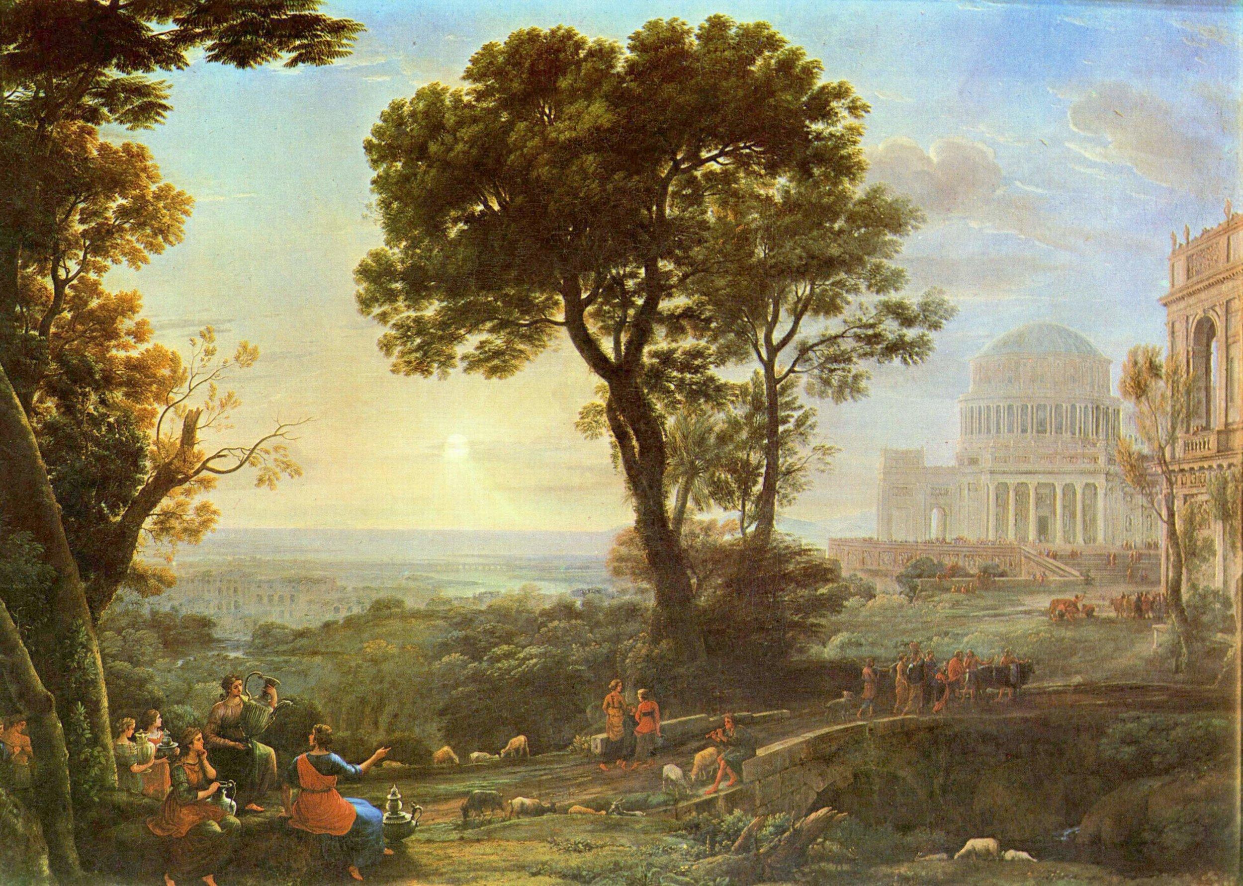 View of Delphi with Sacrificial Procession   |  Claude Lorrain (1673)