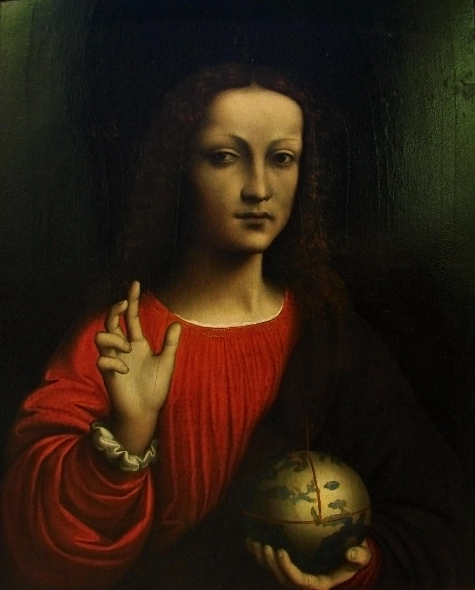 Salvator Mundi    Artist Unknown School of Leonardo Davinci (1504)
