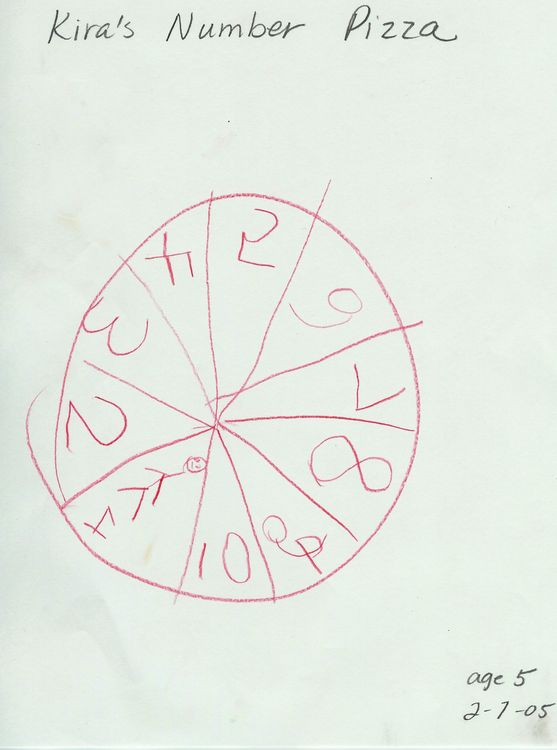 "DJ's sister, Kira age 5, decides it's time to join in the fun. She creates a ""Number Pizza"" and proudly shows me."
