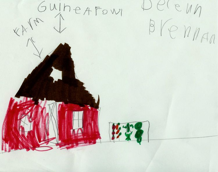 "My daughter Delenn's first ""Guinea Fowl"" story drawing inspired by her brother, no obvious math yet. She states she doesn't ""know how"" to do this as she is a bit intimidated by DJ. She was 6, almost 7."