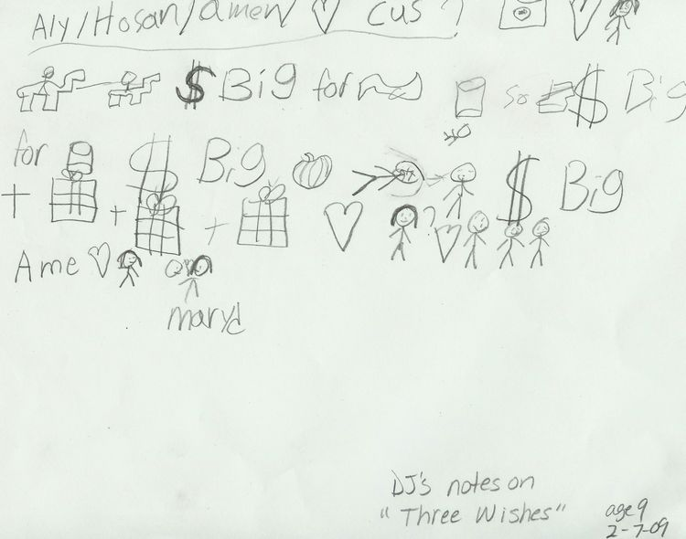 "DJ, age 9, takes symbolic ""notes"" while I read the story of the Three Wishes from Arabian Nights. He used these notes to create a very elaborate story diagram that was on 2 pages taped together and too big to scan.    I was very impressed, however, at how he came up with the idea to shorthand with symbols the story ahead of time, and then he used the notes to fill out the completed story - I never taught him to do this, but of course, this is a very successful technique in college :o)"