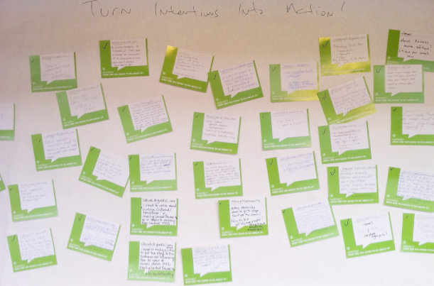 FEEDBACK BOARD - This feedback board was for a 1,200 person nonprofit boot camp for which we designed cards that invited attendees to say what they were inspired to do as a result of the day's events. The results were fantastic, and everyone benefitted from this simple exercise.
