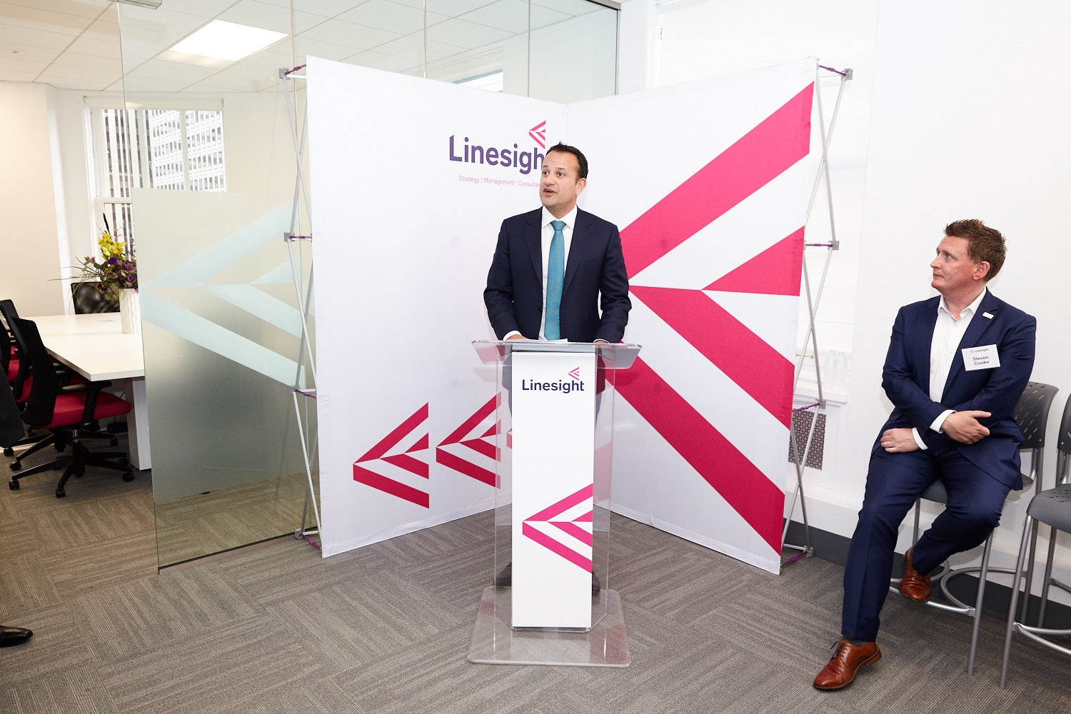 For many clients, branding is key when it comes to signage, like this podium and backdrop for Linesight's office warming event (with special guest speaker, Leo Varadkar, Prime Minister of Ireland).