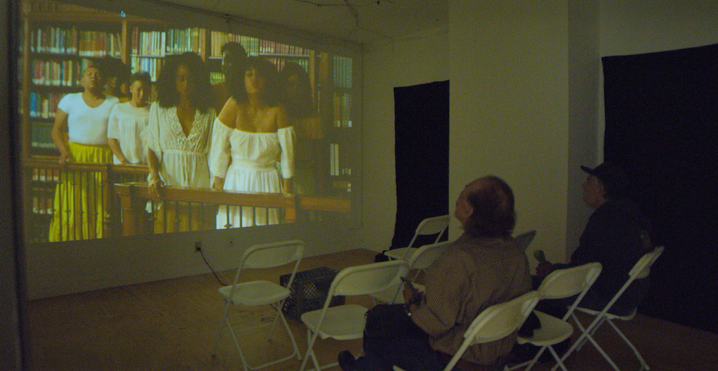 studio space I - screening Carolina Caycedo's Apparitions video during BRSArtsFestival 2019
