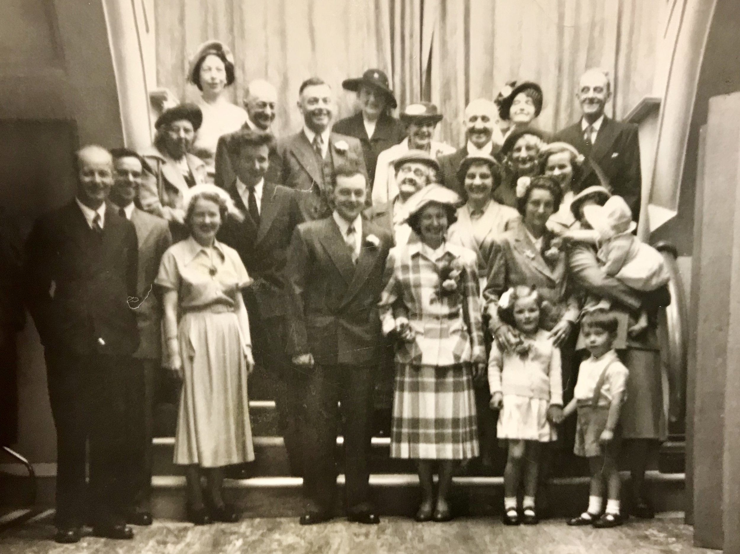 100, West Sunniside, Sunderland,  1952    Front Row:  George Wallace and Ralph Robson on the extreme left and Geoff and Celia Whatmore in the centre.
