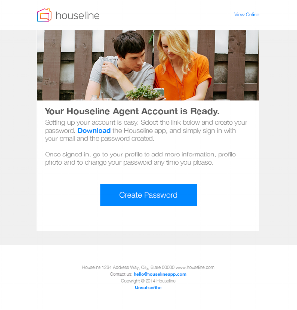 Houseline account creation email