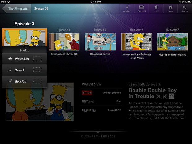 Concept for adding shows and their episodes to a personalized list.