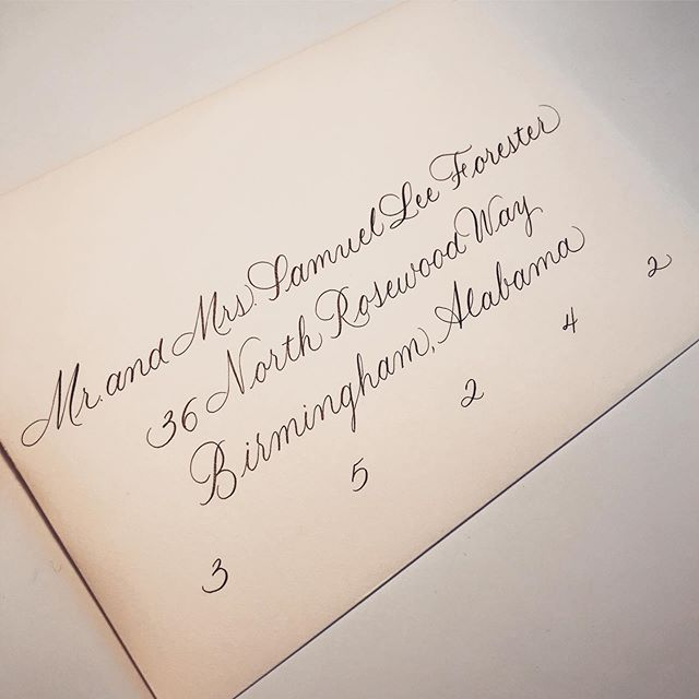 Timeless calligraphy in classic black ink. Always elegant and appropriate.  #alabamacalligrapher #birminghamcalligrapher #envelopecalligraphy #weddingcalligrapher