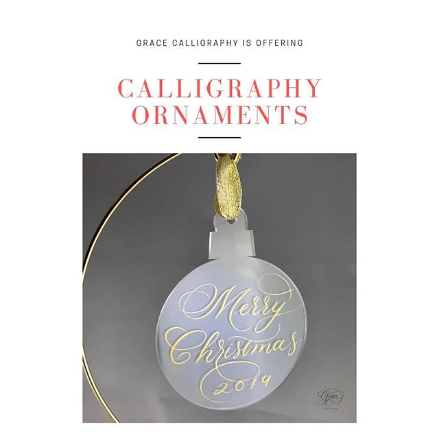 Celebrate Christmas with personalized ornaments. These shatterproof acrylic ornaments are handlettered with waterproof, permanent gold ink and include coordinating metallic ribbon. Available to order from the link in my profile with free shipping. . . . . #calligraphyornament #calligraphyornaments #acrylicornaments #acrylicornament  #alabamaornament #customornaments #customornament #gracecalligraphy
