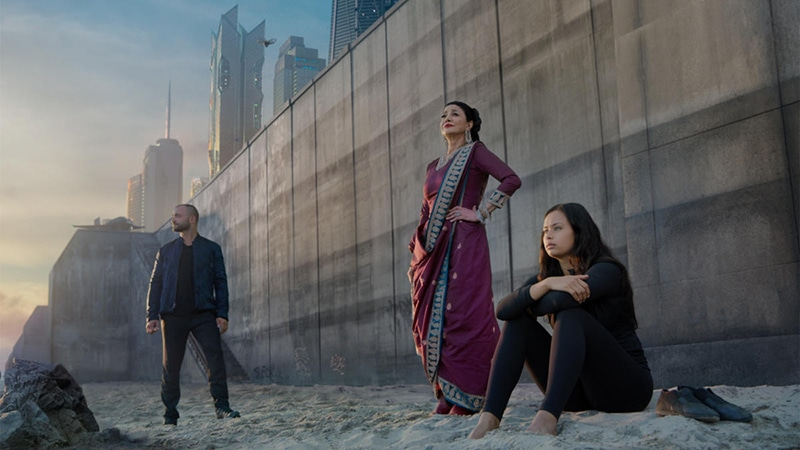 Nick Tarabay as Cotyar Ghazi, Shohreh Aghdashloo as Chrisjen Avasarala, and Frankie Adams as Bobbie Draper,  courtesy of Monsters & Critics .