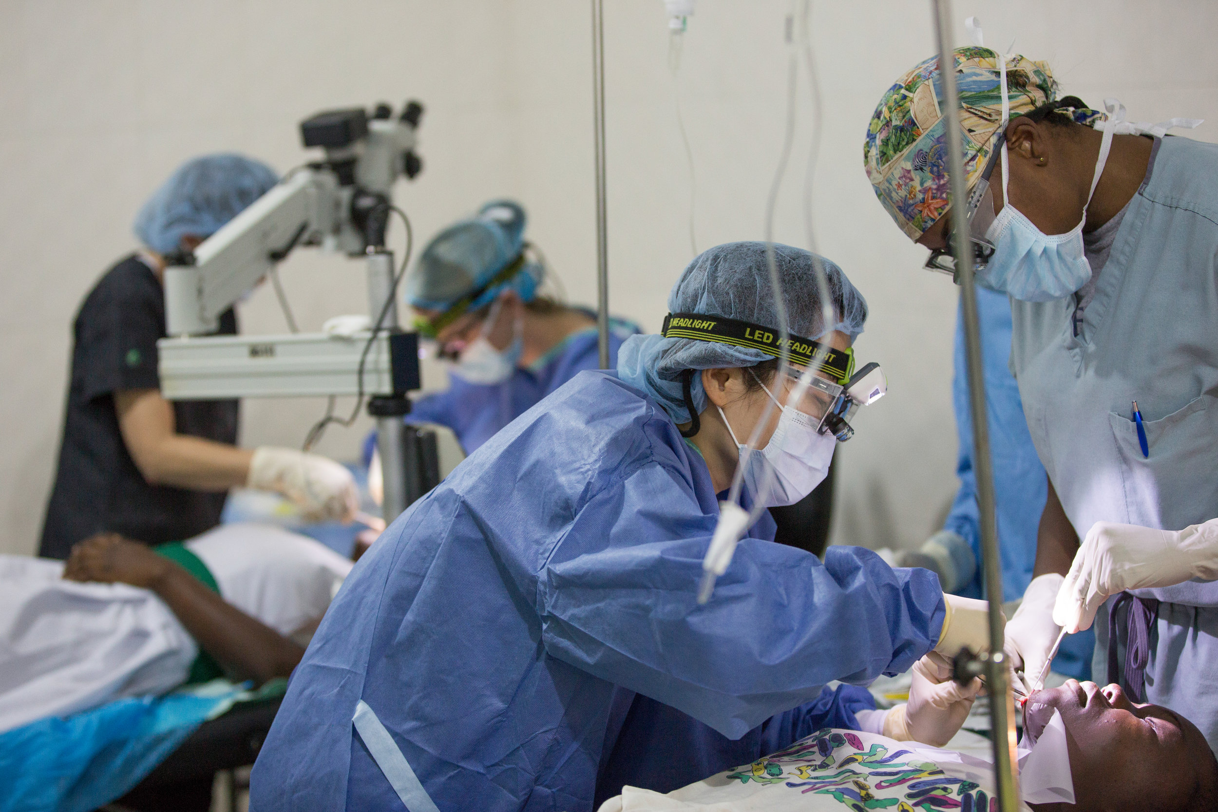 Multiple on-going surgeries given the volume of patients and lack of space.