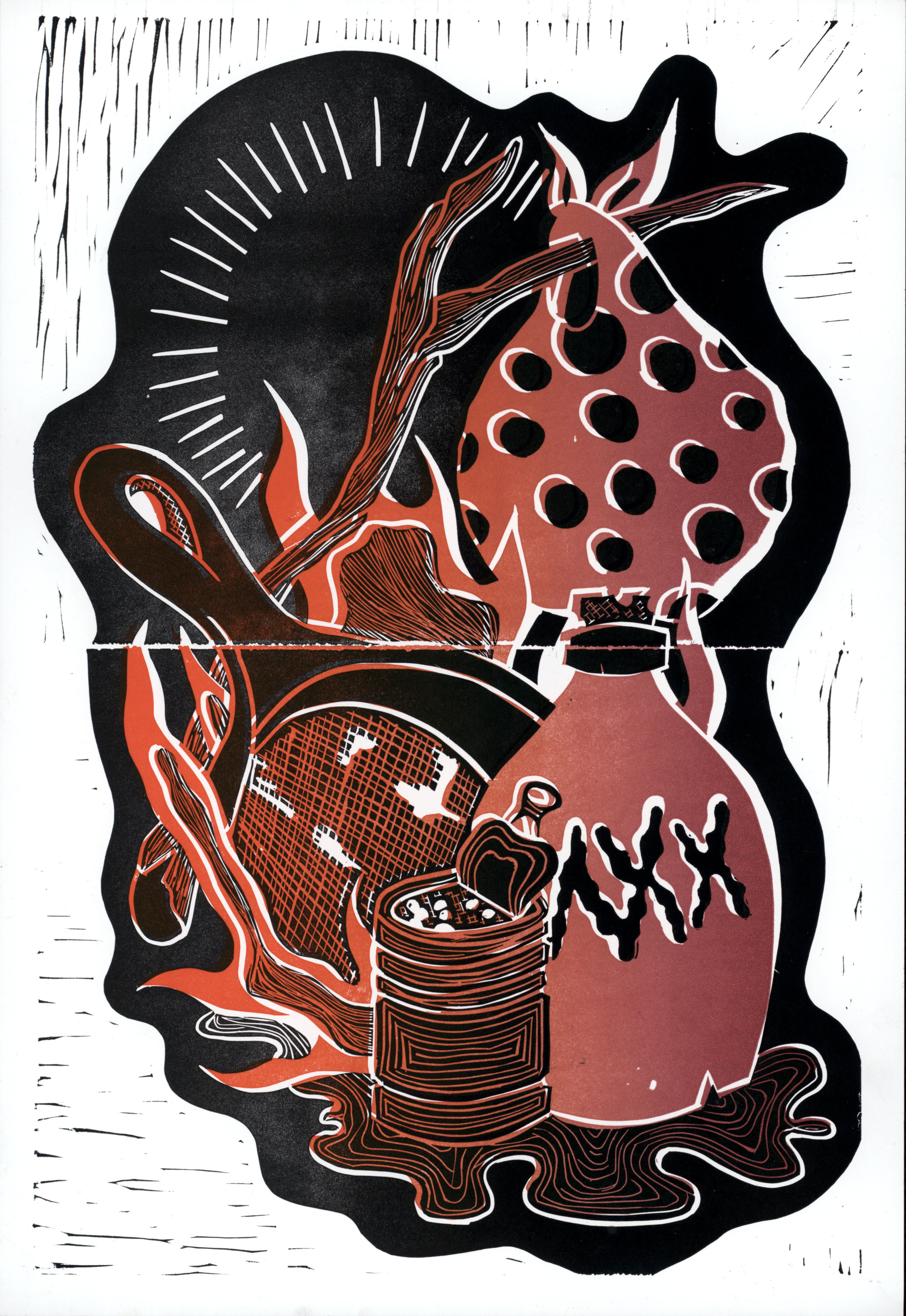 Lino-cut printed on paper via archetype press.