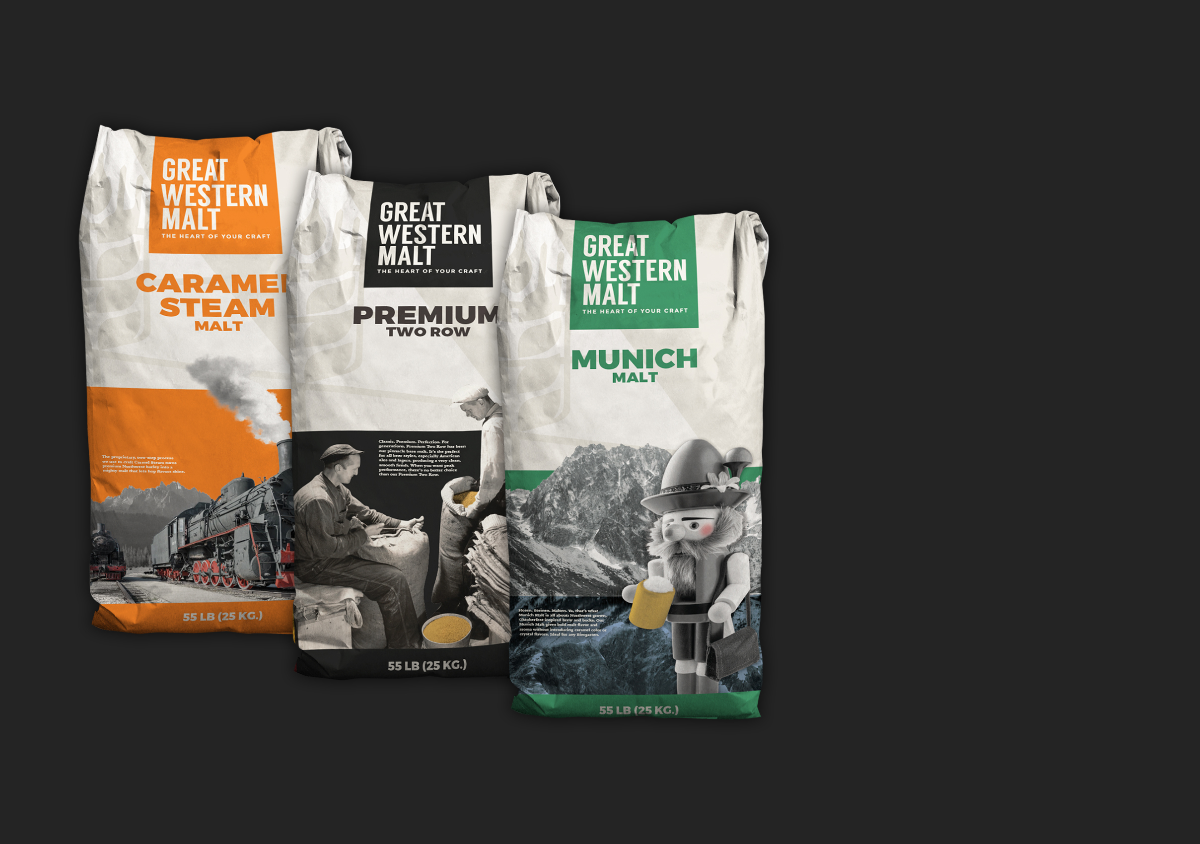 Great Western Malt - Collateral and product design for a rebranding for one of the Northwest's most iconic malt companies.