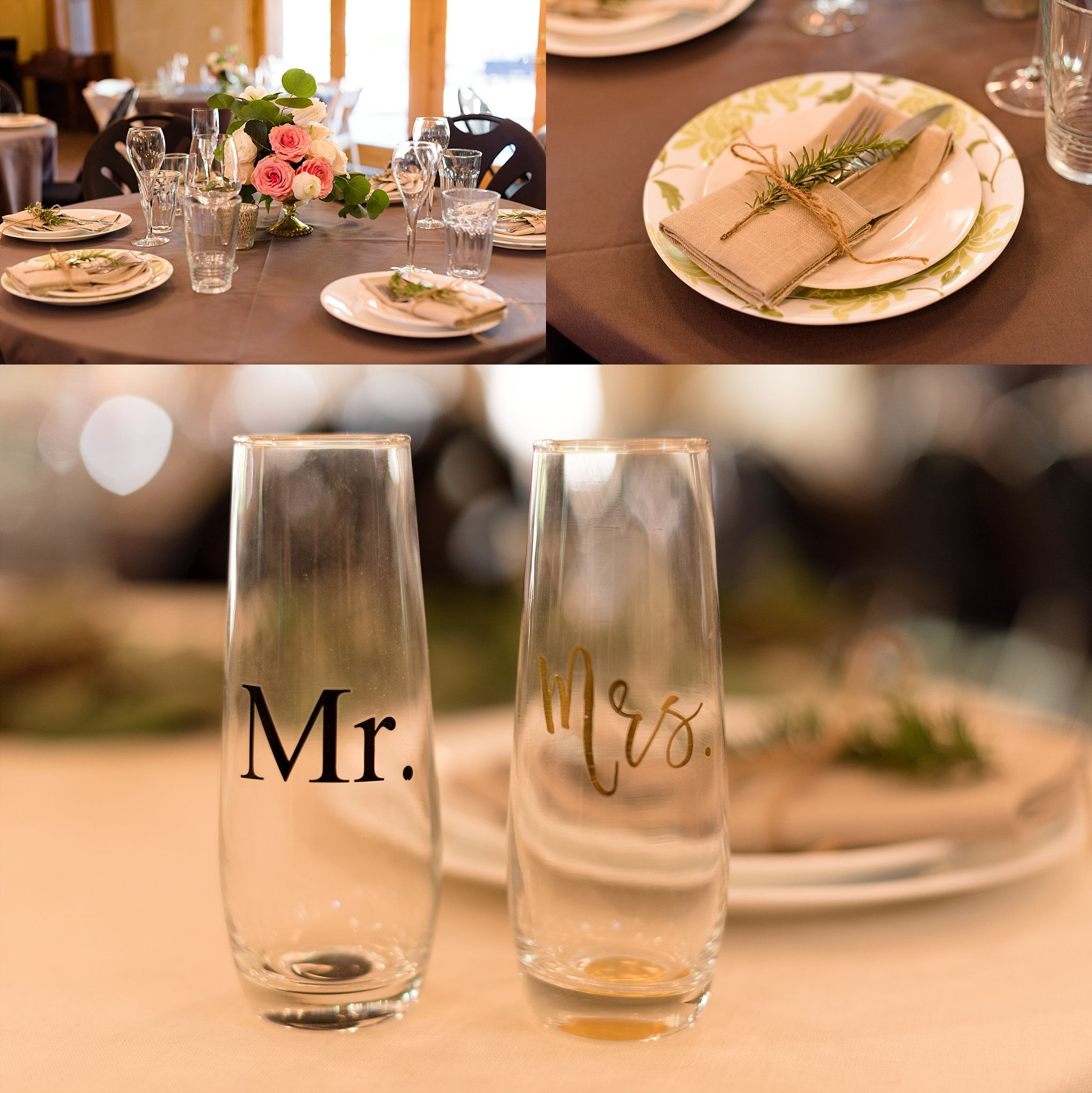 "I loved the special ""Mr."" and ""Mrs."" glasses at the sweetheart table."