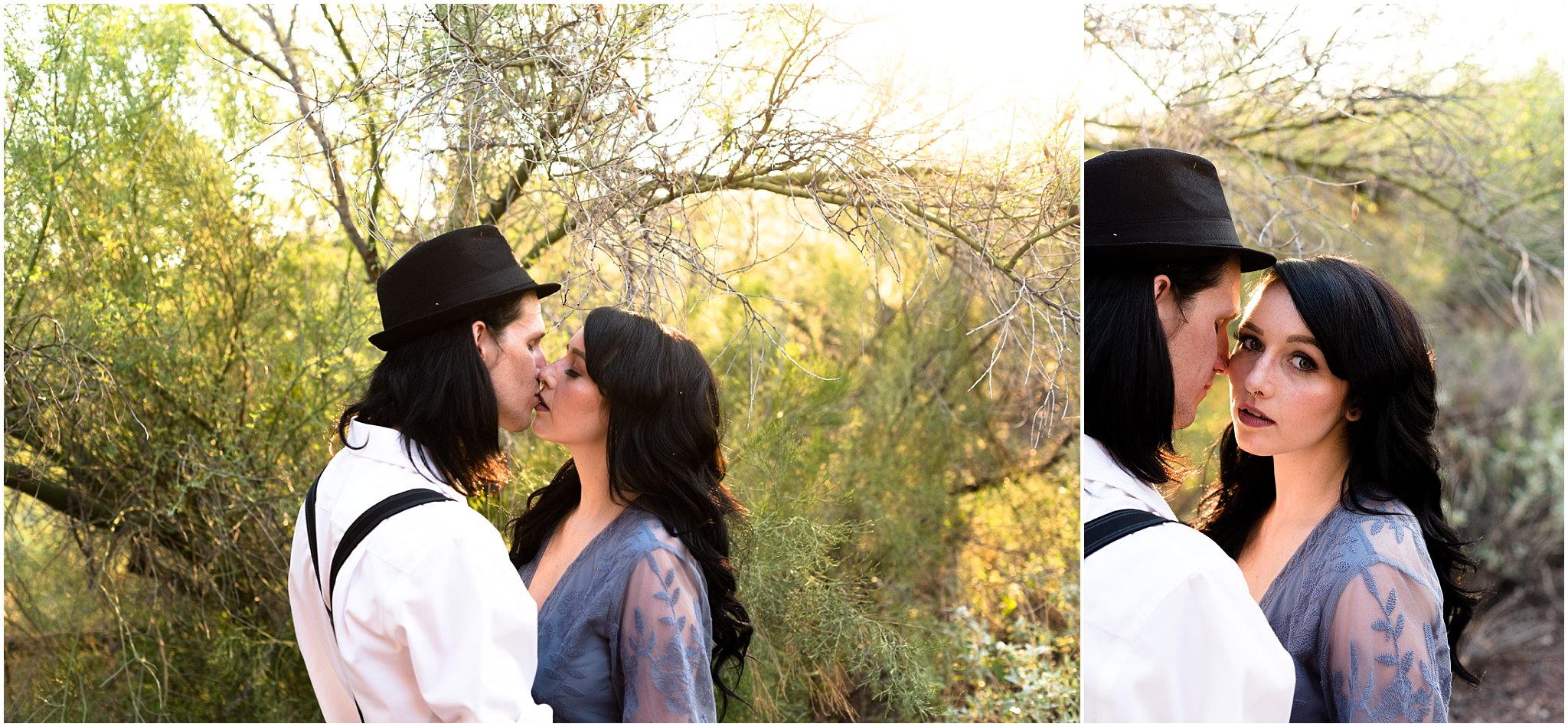 We also had an engaged couple modeling another boho look for us. Let me tell you something. Skyler and Adam had crazy chemistry. You could tell Adam was just so in love with Skyler and how beautiful she was in her dusty blue romper and beautifully styled hair and makeup.