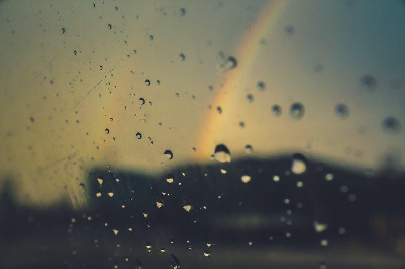 Rain and a Rainbow on a Windscreen
