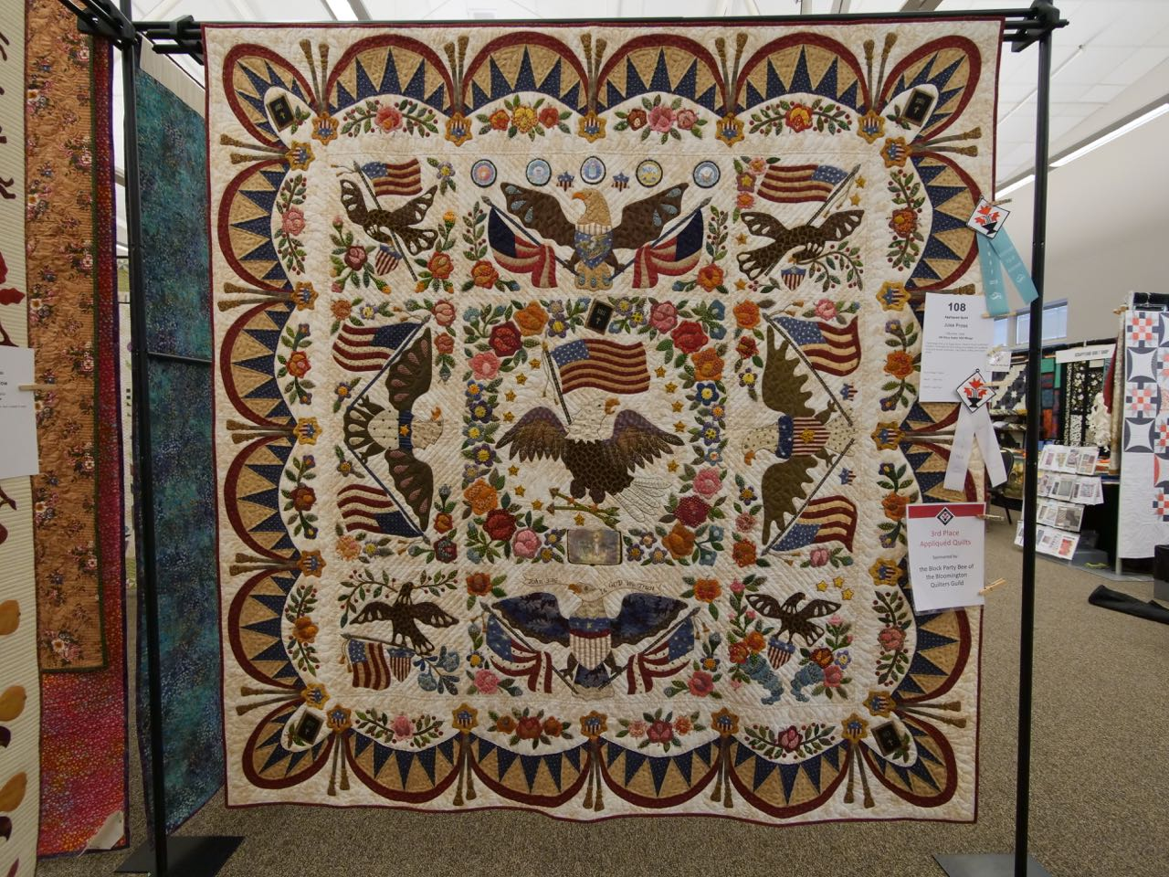 Old Glory Under HIS Wings - 3rd Place, Appliquéd Quilts
