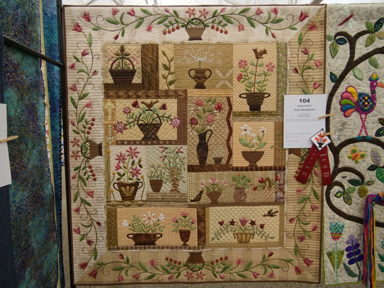 Forever Flowers - 2nd Place, Appliquéd Quilts