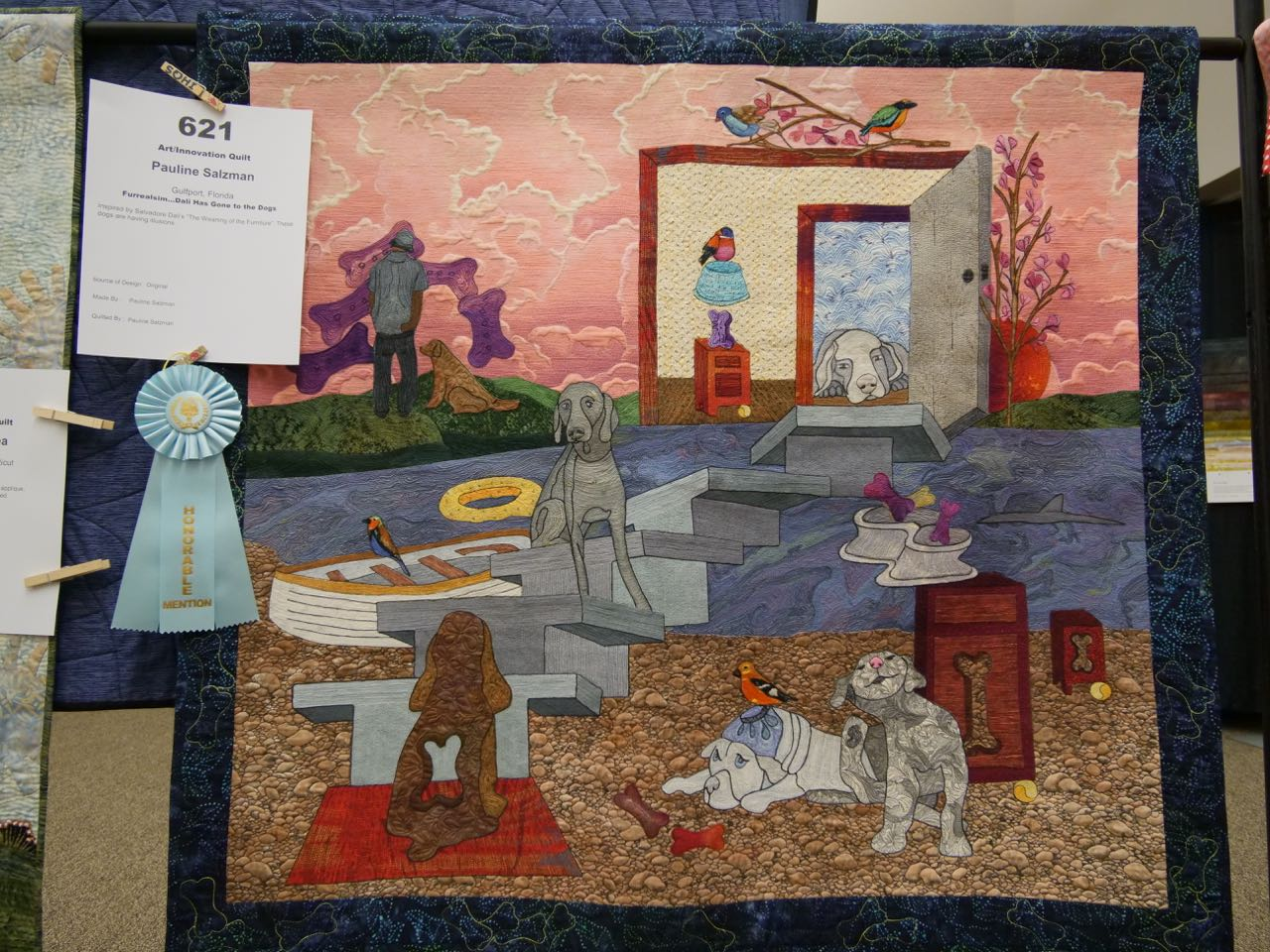 Furrealism: Dali Has Gone to the Dogs - Honorable Mention, Art/Innovation Quilts