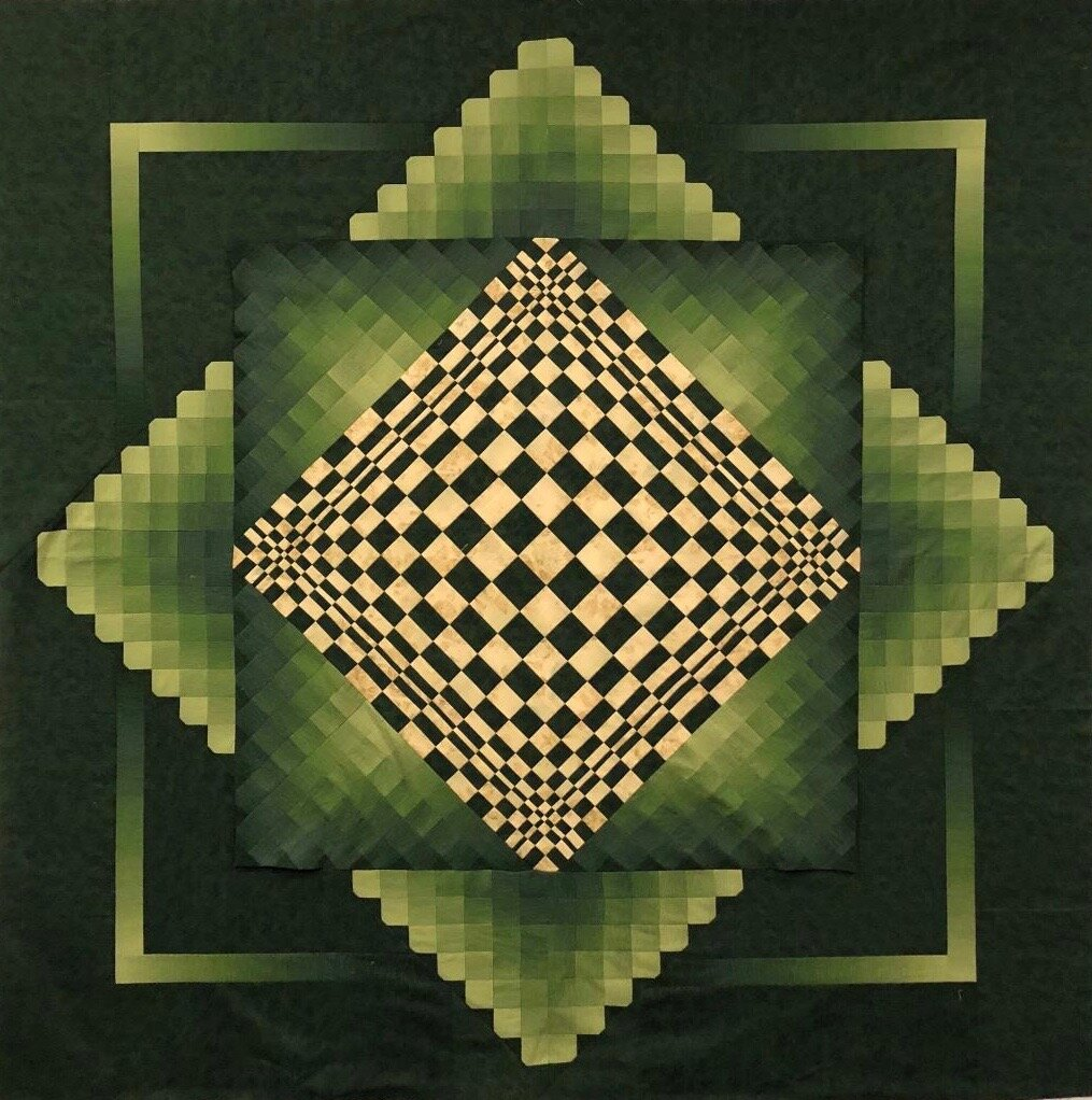 Pat Surra's Convex Illusion bargello quilt seems three dimensional. Come see her quilts at WonderLab.