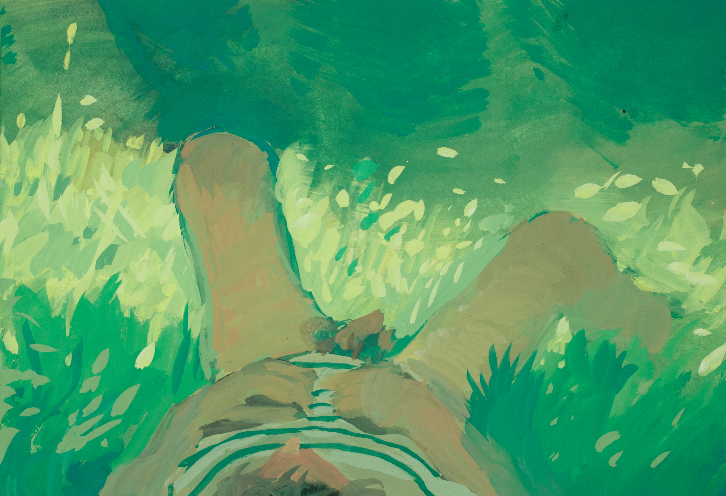 """40_""""lying in the grass face up"""", 5"""" X 7"""", Gouache on Paper, 2014.jpg"""