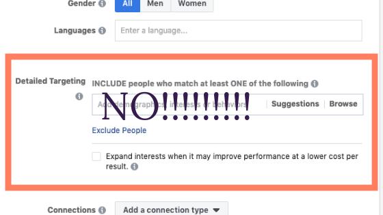 Facebook ads mistake 2