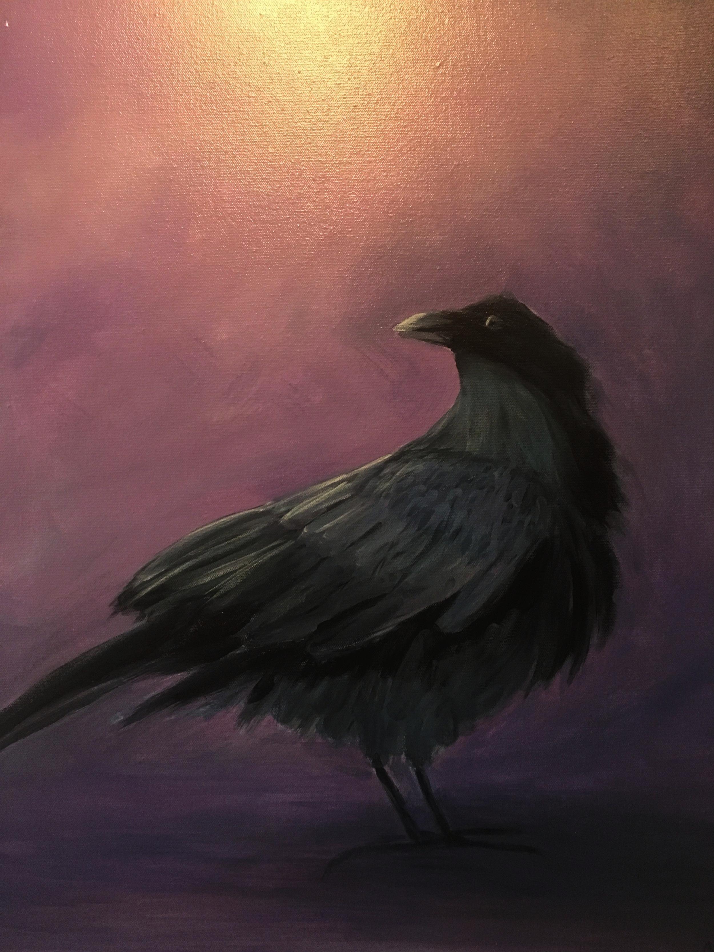 Raven painting by Jennifer Orwig