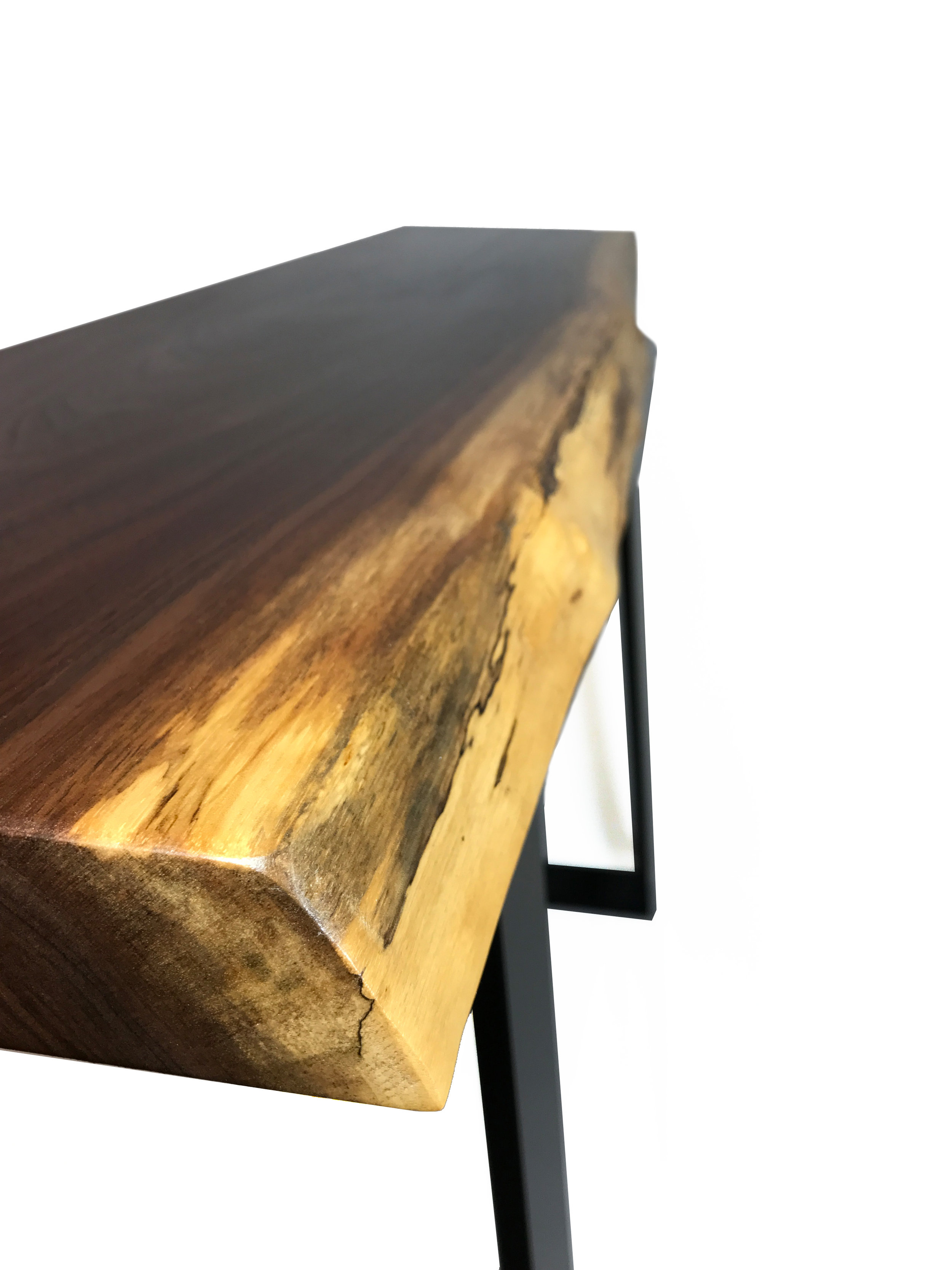 Live Edge Walnut Console Table Edge View