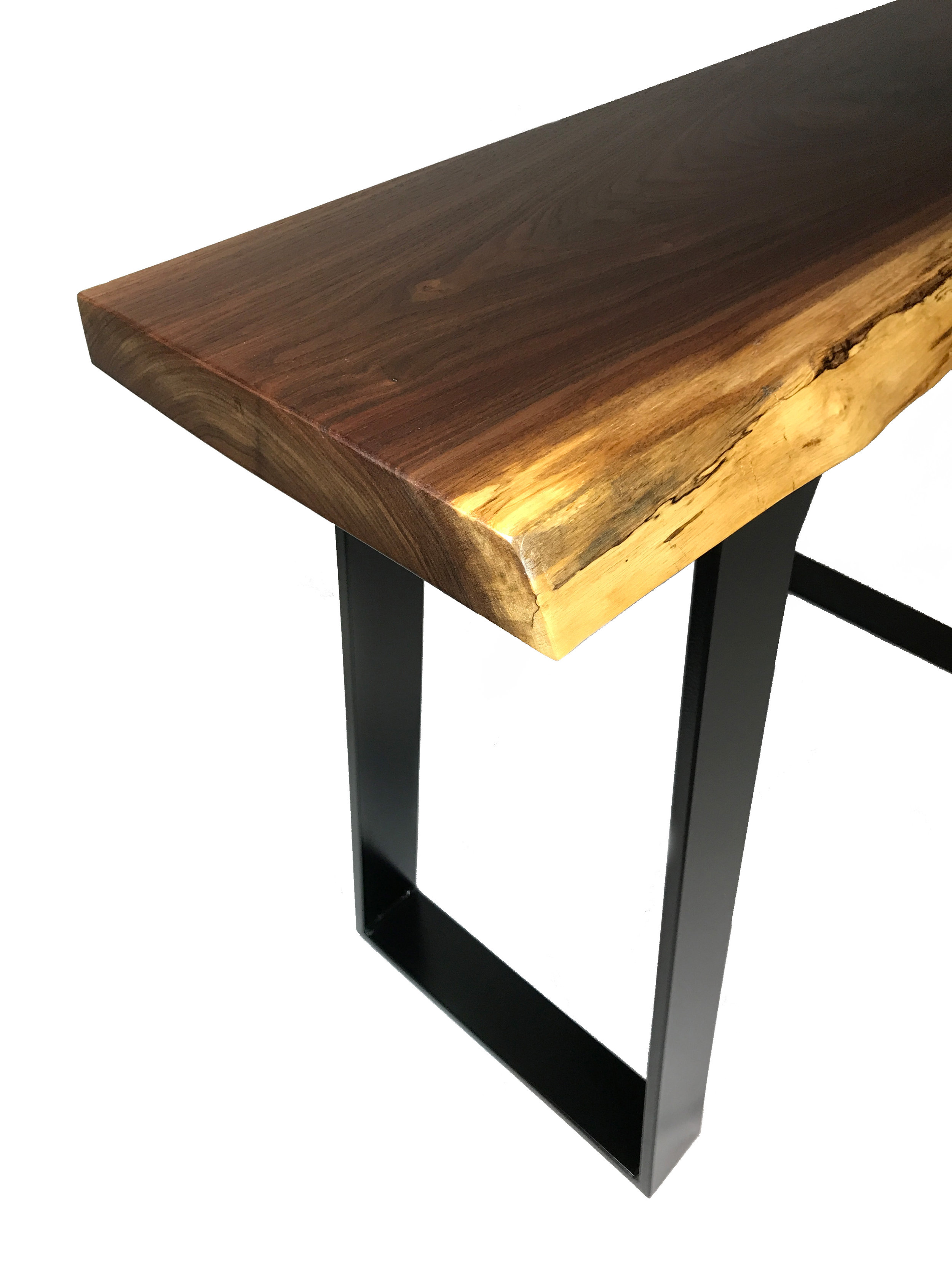 Live Edge Walnut Console Table Corner View