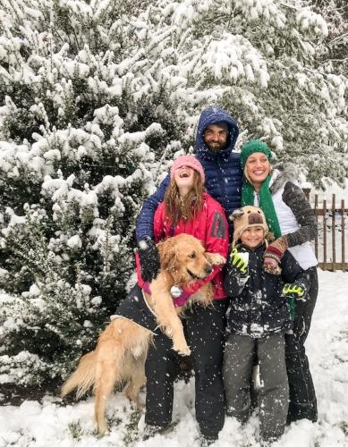 Matt, Sasha, Ella Jane, Grant, and their golden retriver Murphy