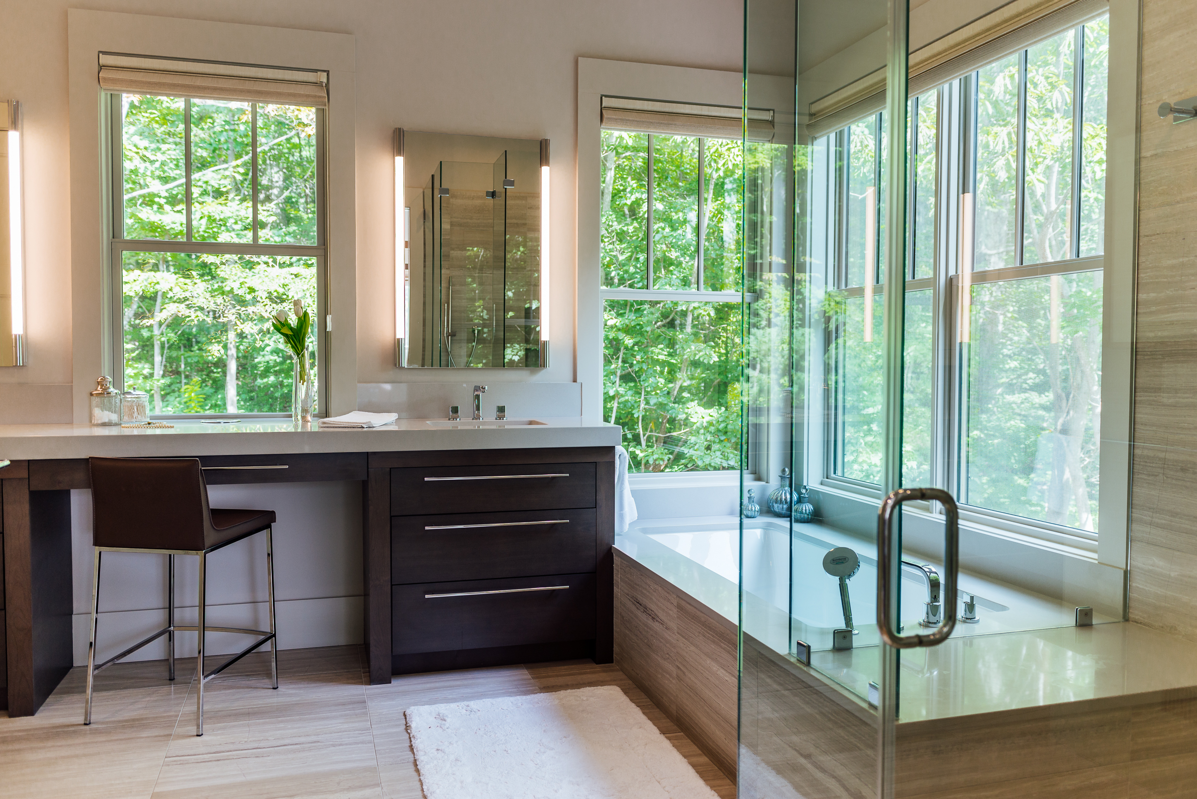 Another one of our custom homes also features an open vanity that could accommodate a wheelchair if necessary.