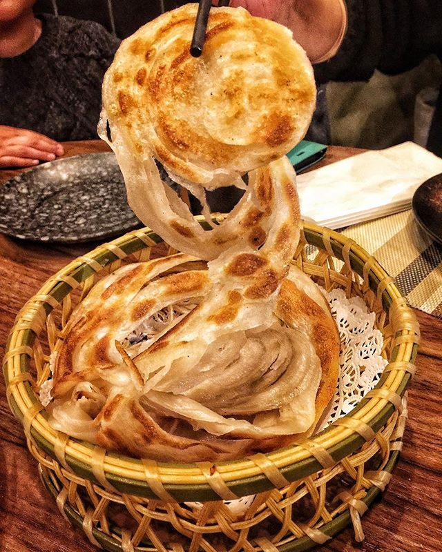 Thousand layer pancake, hundred layer pancake, whatever this is called it's a pretty cool appetizer to order from @alley41official in Flushing NY. . 📷: @soupbelly_atl