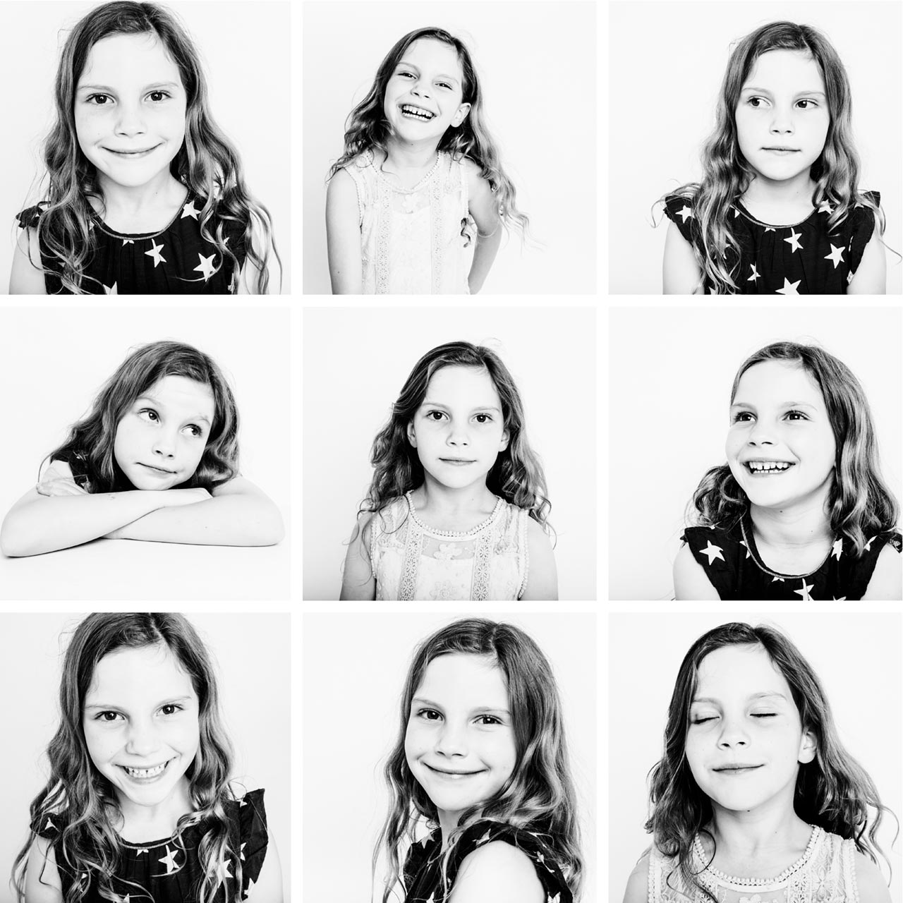Studio black and white portraits collage