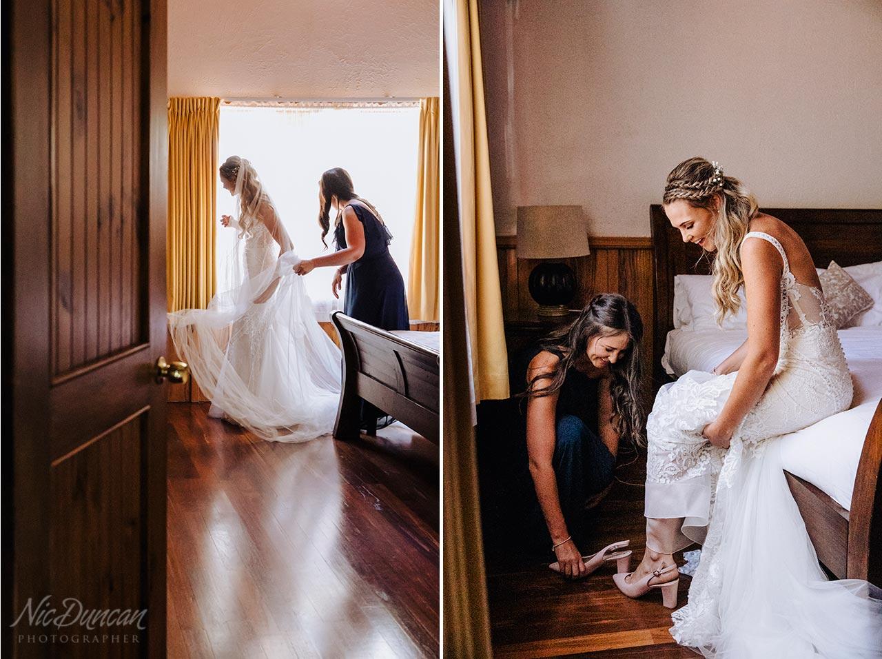 Bride getting ready for her wedding in Denmark, Western Australia