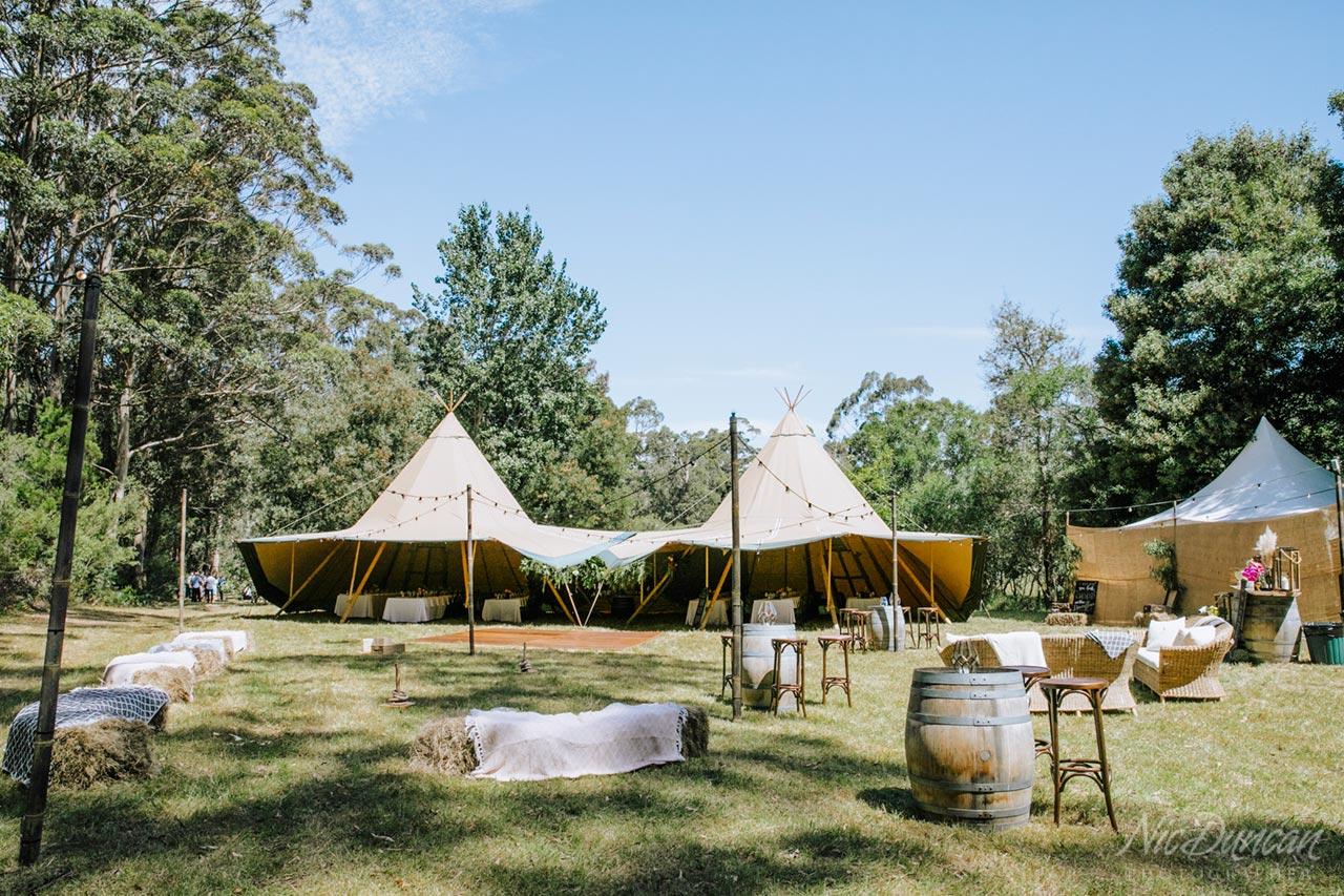 Wedding tepee reception set-up