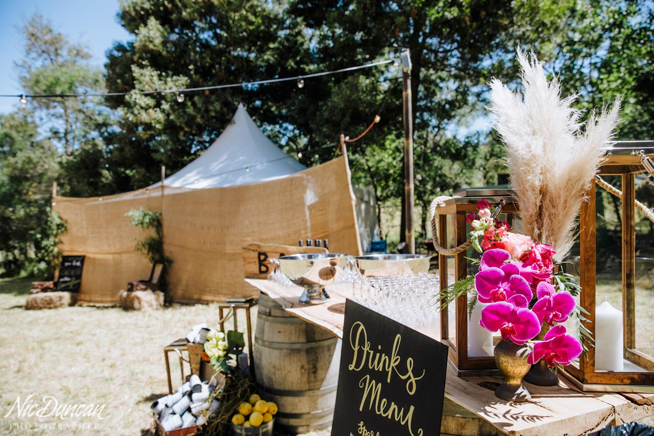 Drinks bar at a farm wedding in the Great Southern