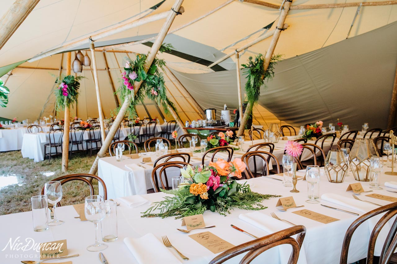 Reception set-up and table decorations by Eclectic Events