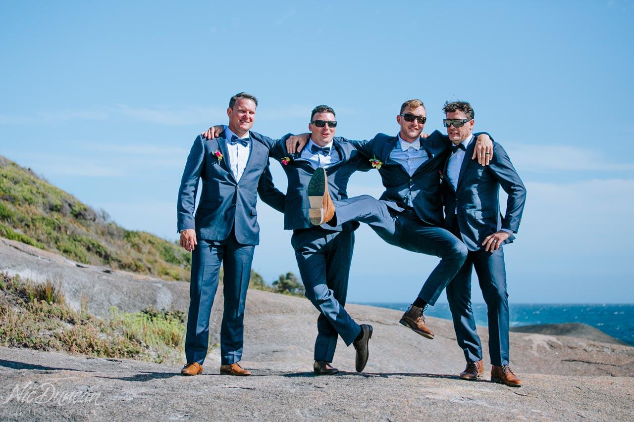 Groom and groomsmen at William Bay National Park in Denmark