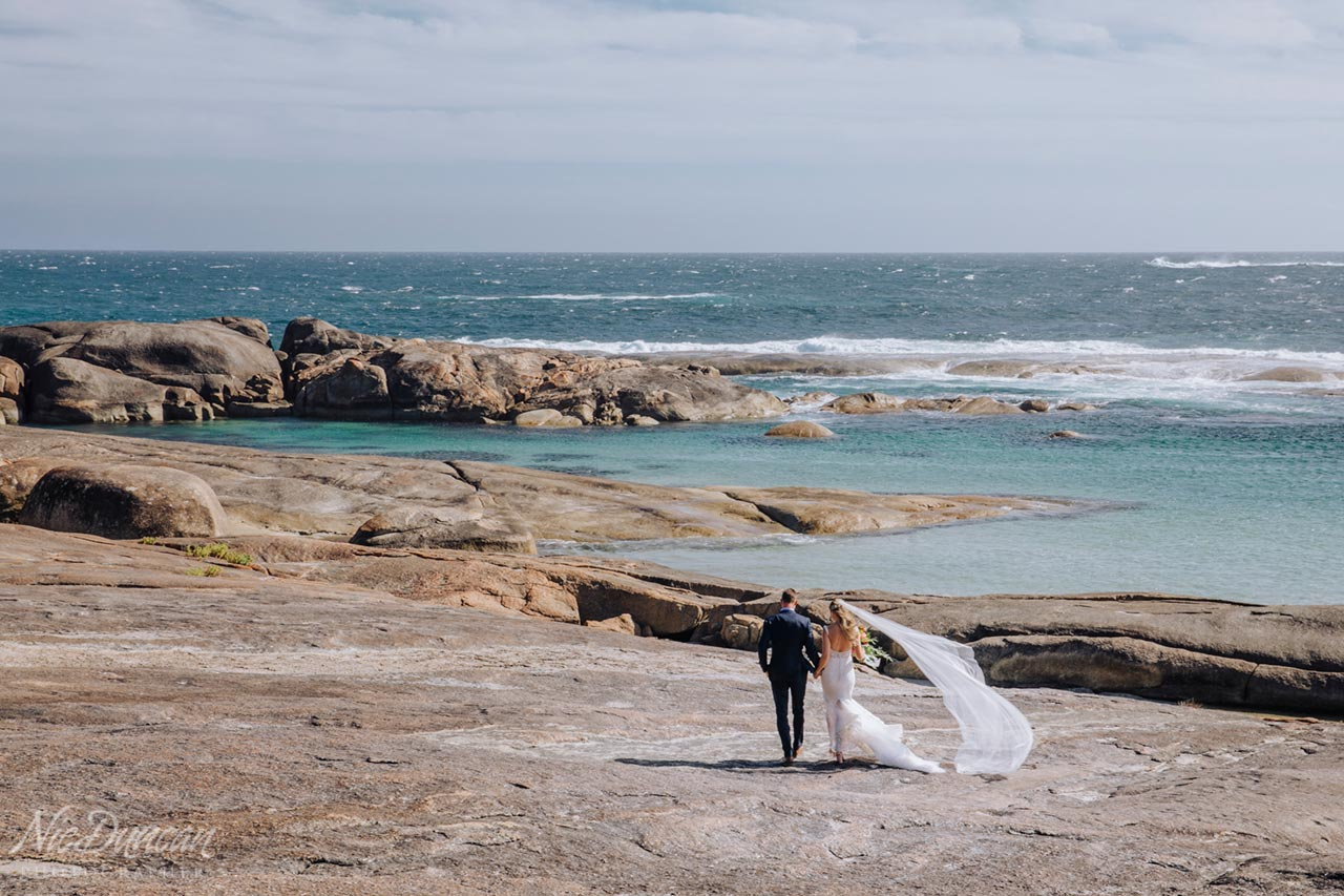 Bride and groom at Greens Pool in Denmark