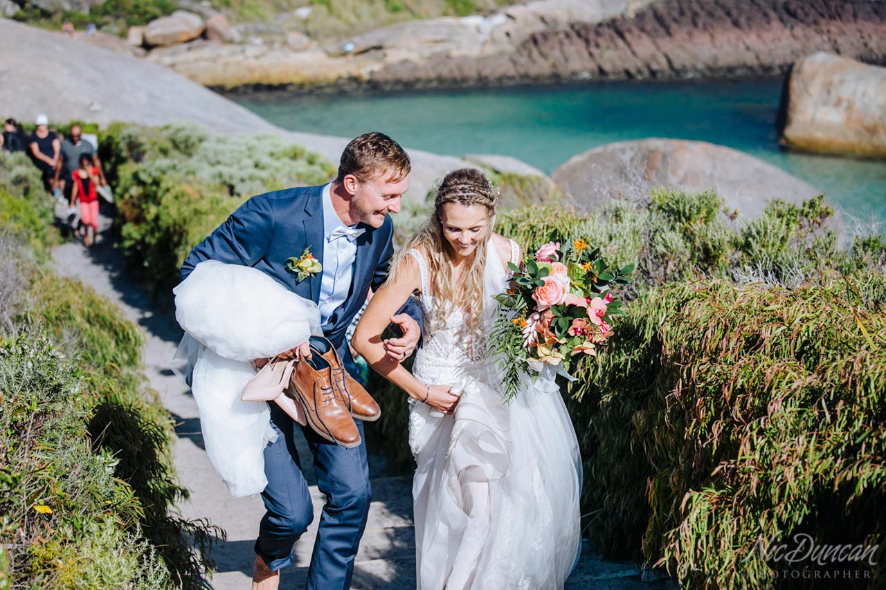 Bride and groom at Elephant Rocks in Denmark, WA