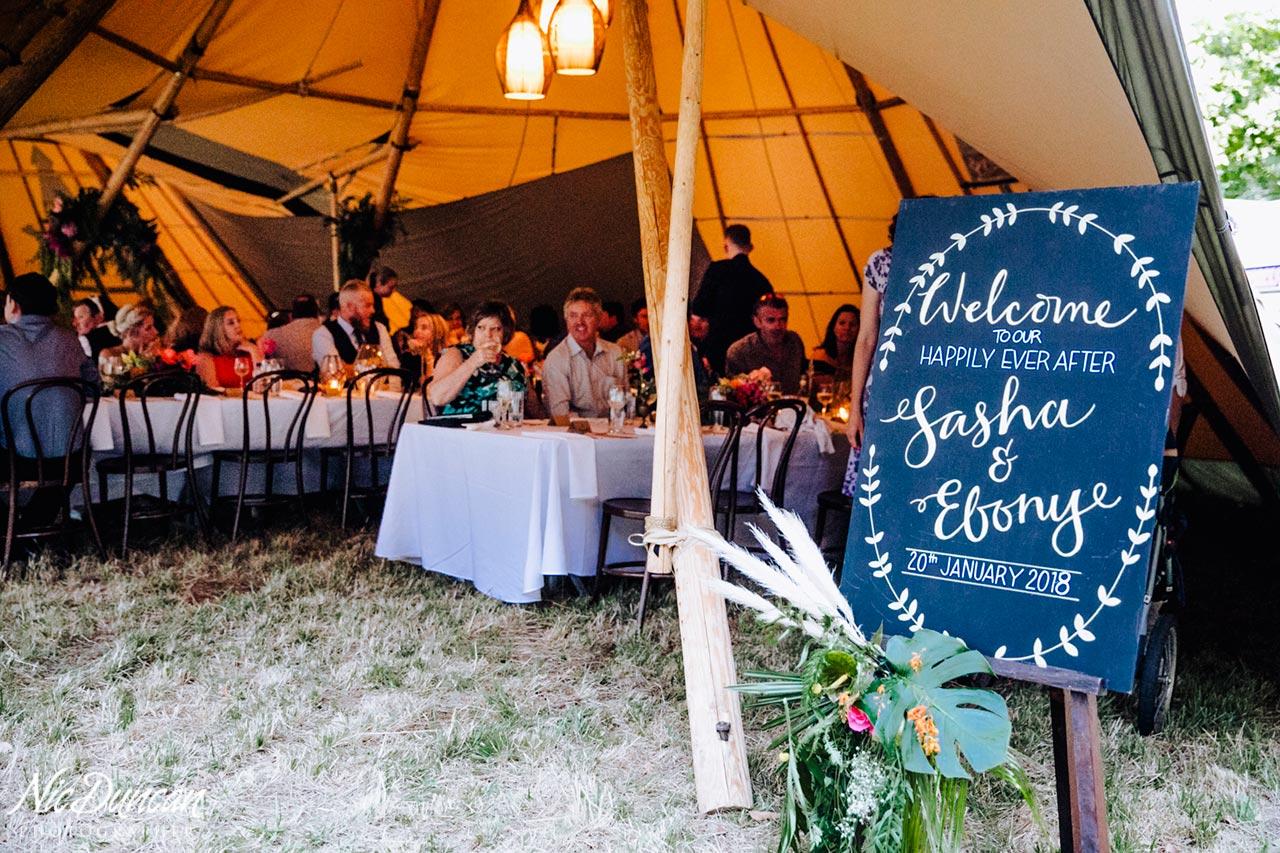 Wedding signage at a tepee wedding reception
