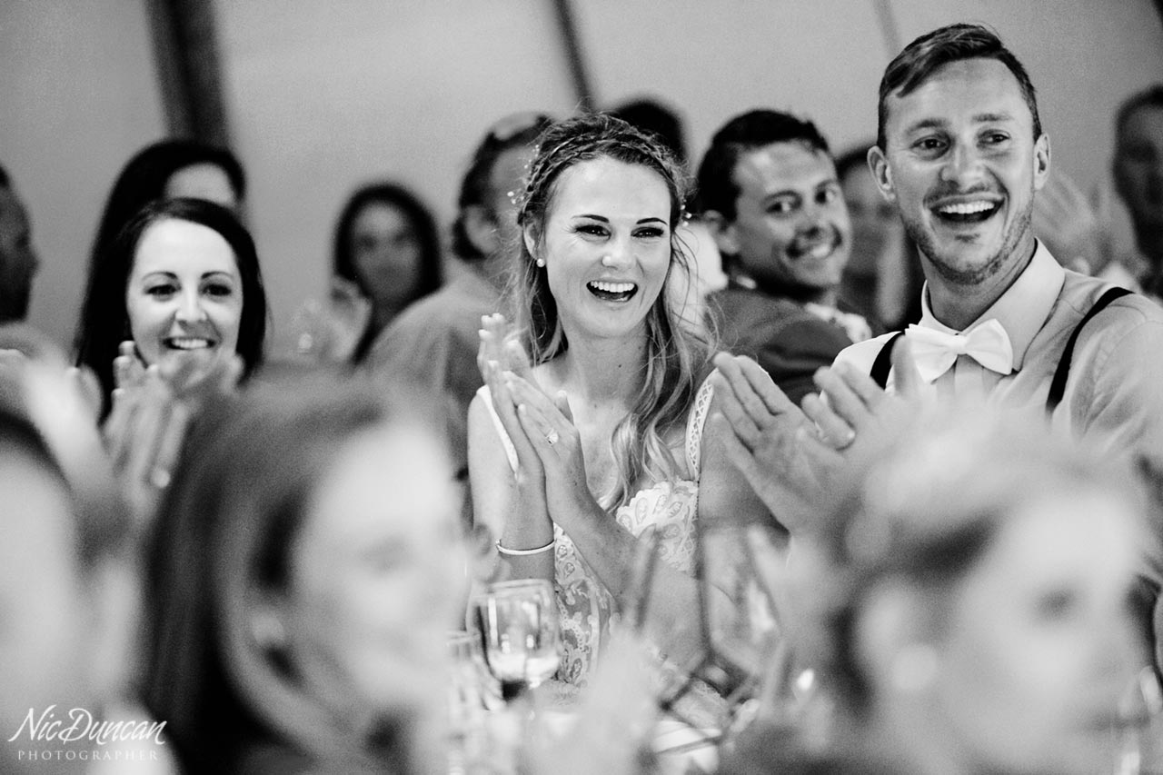 Bride and groom enjoying the speeches, Denmark Western Australia