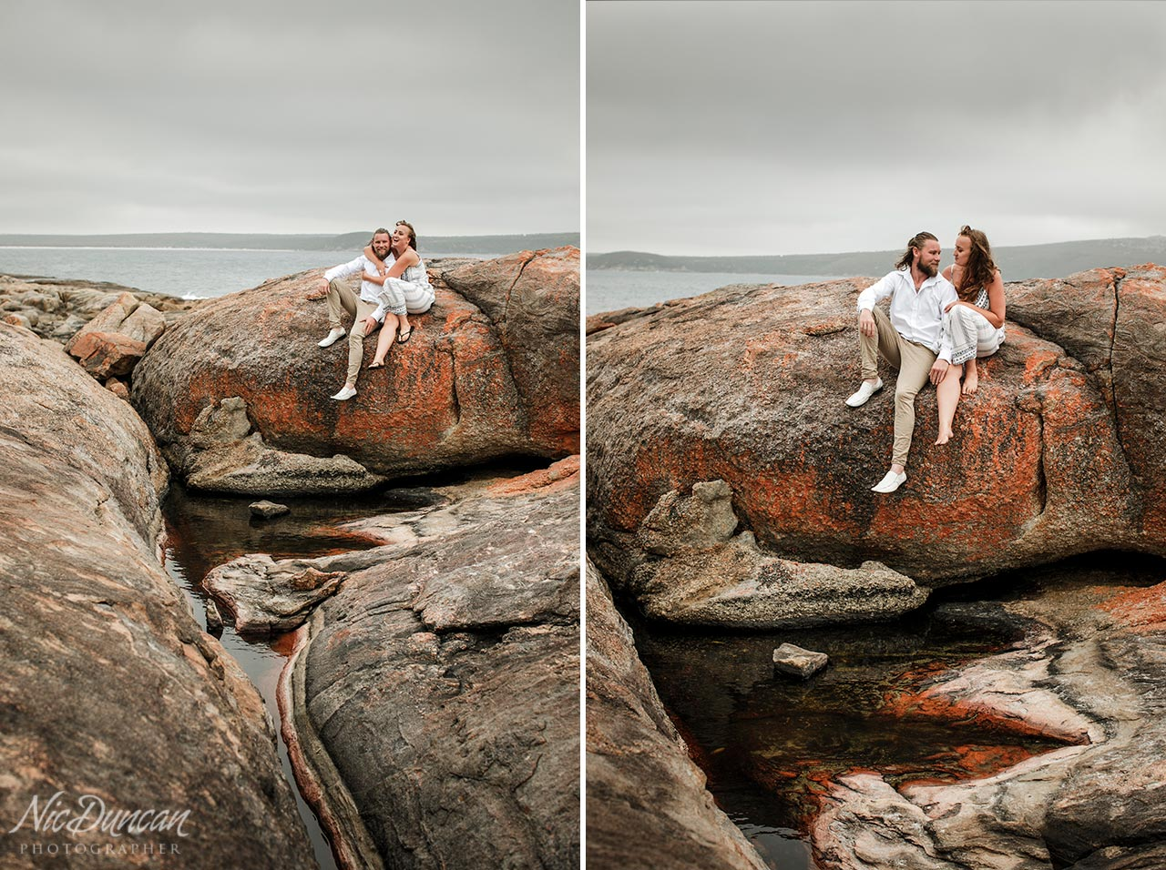 Engagement portrait session and rock pools at Two Peoples Bay WA