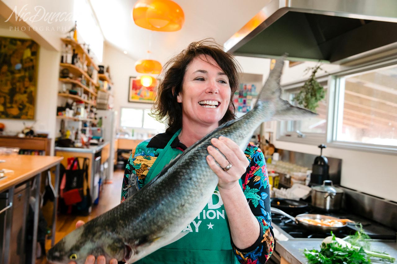 Anna Gare about to prepare the freshly caught Australian Salmon
