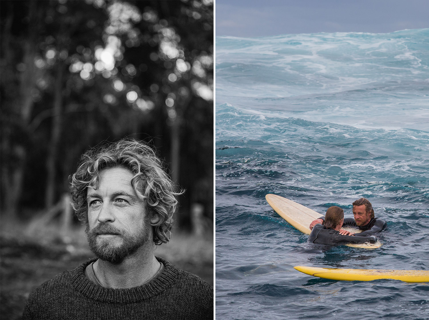 Simon Baker and Samson Coulter, Sando and Pikelet, in one of the surf scenes in Breath the movie