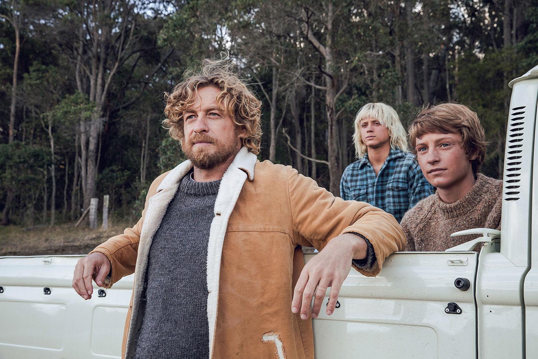Sando (Simon Baker), Loonie (Ben Spence) and Pikelet (Samson Coulter) in the movie Breath, Denmark Western Australia